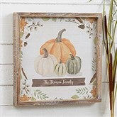 Autumn Pumpkins Light Wash Personalized Barnwood Frame Wall Art- 12