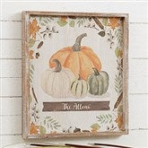 Autumn Pumpkins Light Wash Personalized Barnwood Frame Wall Art- 14