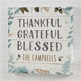 Thankful Fall Floral Personalized Canvas Print- 20