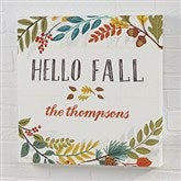 Hello Fall Floral Personalized Canvas Print- 16