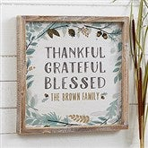 Thankful Fall Floral Personalized Barnwood Frame Wall Art- 12