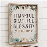 Thankful Fall Floral Personalized Barnwood Frame Wall Art- 14