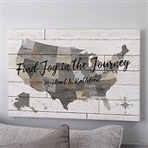 Barnboard Map Personalized Canvas Print - 12