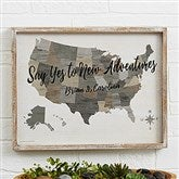 Barnboard Map Personalized Whitewashed Frame Wall Art- 14