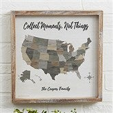 Barnboard Map Personalized Whitewashed Frame Wall Art- 12