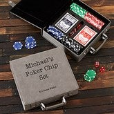 Expressions Personalized Grey Leatherette Poker Chip Set - 22430