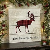 Cozy Cabin Deer Personalized Wooden Shiplap Sign- 12'