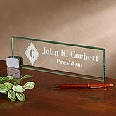 Executive Glass Personalized Name Plate - 2372