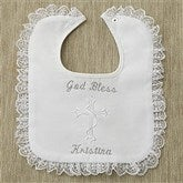 Personalized Christening Bib - Lace Trim - 2483-L