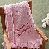 Embroidered Sweet Dreams Baby Blanket - Blush Pink - 2618-P