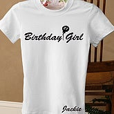 Birthday Girl White Fitted Tee - Adult - 2830-LW