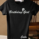 Birthday Girl Black Fitted Tee -  Adult - 2830-LB