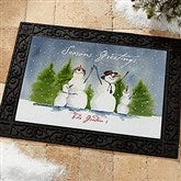 Snow Family Watercolor Art Personalized Recycled Rubber Back Doormat - 3031-S