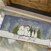 Snow Family Watercolor Art Personalized Oversized Doormat - 3031-O