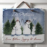 Snow Family Personalized Slate Plaque - 3034