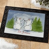 Snow Couple Watercolor Art Personalized Recycled Rubber Back Doormat - 3083