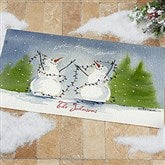 Snow Couple Watercolor Art Personalized Oversized Doormat - 3083-O