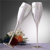 Crystal Accents Wedding Flutes - Monogram - 3465-M