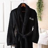 Embroidered Luxury Fleece Robe - Black - 3568-B