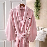 Embroidered Luxury Fleece Robe- Pink - 3568-P