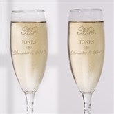 Mr. and Mrs. Collection Personalized Champagne Flute Set - 3706