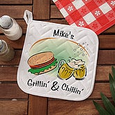 Grillin' & Chillin' Personalized BBQ Potholder - 3765-P