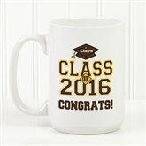 Cheers to the Graduate Personalized Coffee Mug 15oz.- White - 3833-L