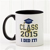 Cheers to the Graduate Personalized Coffee Mug 11oz.- Black - 3833-B
