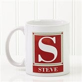 Letter Monogram Personalized Coffee Mug- 11 oz. - White - 3899-S