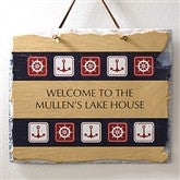 Nautical Welcome Personalized Slate Plaque - 3909