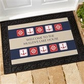 Ahoy! Nautical Personalized Recycled Rubber Back Doormat - 3910