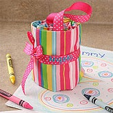 Personalized Crayon Roll-up Case - Pink - 4137P