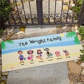 Summer Family Character Personalized Oversized Doormat- 24x48 - 4186-O