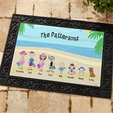 Summer Family Character Personalized Recycled Rubber Back Doormat - 4186