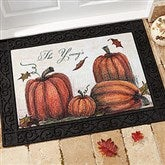 Autumn Pumpkin Patch Personalized Recycled Rubber Back Doormat - 4190