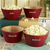 Personalized Red Bamboo Popcorn Bowl- Small - 4242-NS