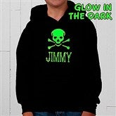 Glow-in-the-Dark Skull- Hooded Sweatshirt - 4283-S