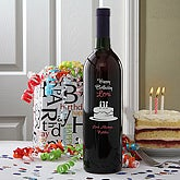 Personalized Birthday Wine Bottle Art - Birthday Cake - 4324D-C