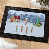 Winter Family Characters Personalized Recycled Rubber Back Doormat - 4418