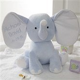 Embroidered Jumbo Plush Elephant - Blue - 4428-B