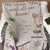 All Our Hearts Personalized Afghan - 4439