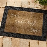 Peaceful Welcome Personalized Recycled Rubber Back Doormat - 4450