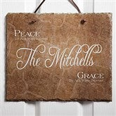 Peaceful Welcome Personalized Slate Plaque - 4451