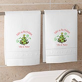Season's Greetings Linen Towel Set - White - 4460W