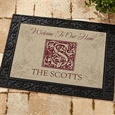 Floral Monogram Personalized Doormat - 4489-S