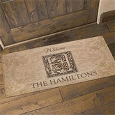 Floral Monogram Personalized Oversized Doormat - 4489-O