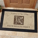 Floral Monogram Personalized Doormat - 4489-M
