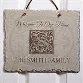 Floral Monogram Personalized Slate Plaque - 4490