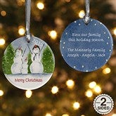 2-Sided Snow Family Personalized Ornament - 4687-2