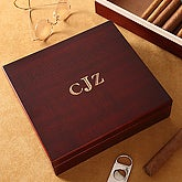 Personalized Cherry Wood Cigar Humidor 20 Count- Monogram - 4754M